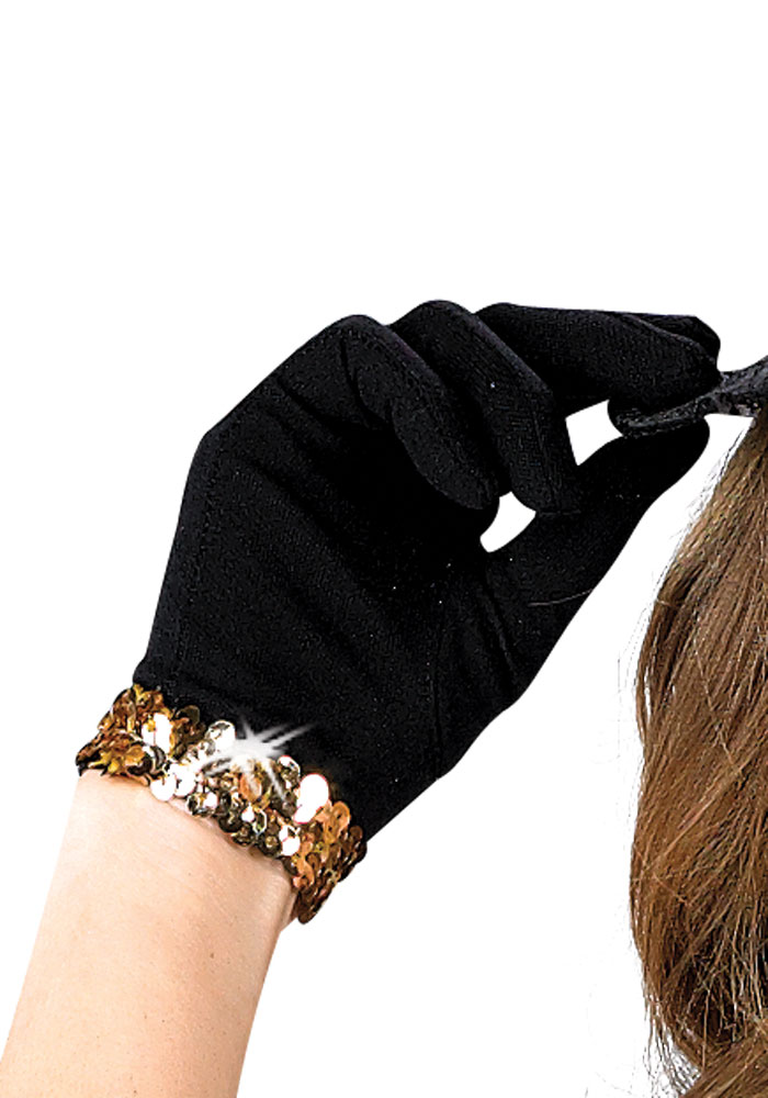 BLACK GLOVES W/ SEQUIN