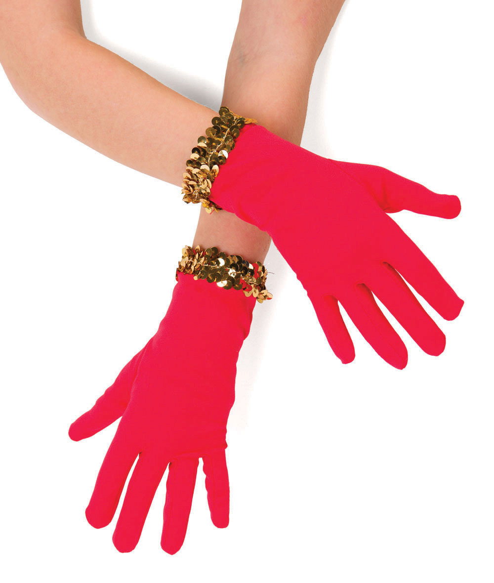 SEQUIN RED GLOVES